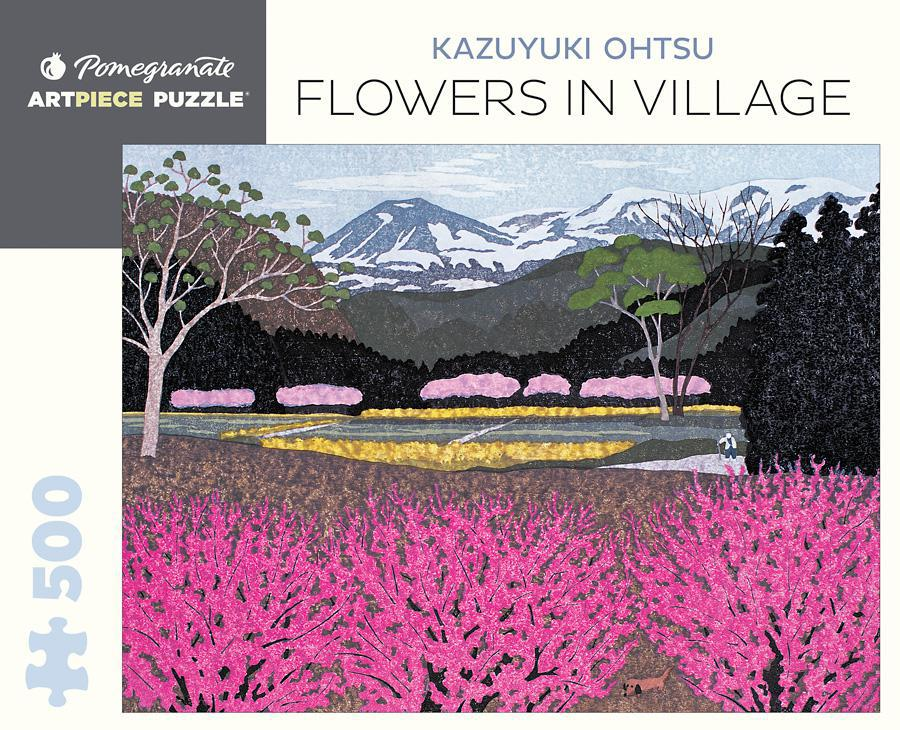 Pomegranate ArtPiece Puzzles: Kazuyuki Ohtsu - Flowers in Village - 500 Piece Puzzle
