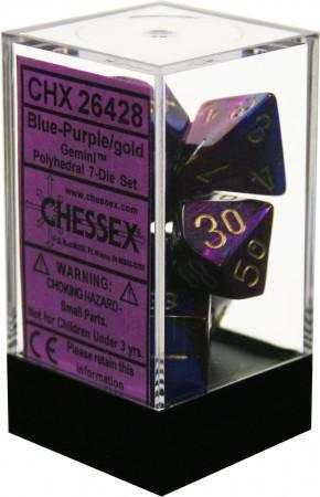 Chessex: Gemini Blue and Purple w/ Gold - Polyhedral Dice Set (7) - CHX26428
