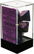 Load image into Gallery viewer, Chessex: Gemini Blue and Purple w/ Gold - Polyhedral Dice Set (7) - CHX26428