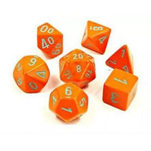 Load image into Gallery viewer, Chessex: Heavy Orange w/ Turqoise Lab Polyhedral Dice Set (7) (CHX30038)