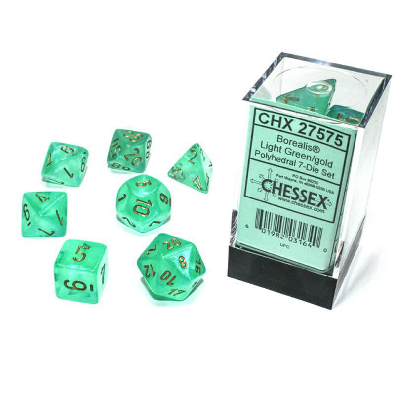 Chessex: Borealis Luminary Light Green w/ Gold - Polyhedral Dice Set (7) - CHX27575
