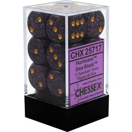 Chessex: Speckled Hurricane Purple w/ Gold - 16mm d6 Dice Set (12) - CHX25717