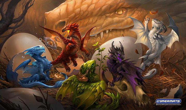 "GamerMats: 'Baby Dragons' 14""x24""&1/8"" Stitched Gaming Playmat"