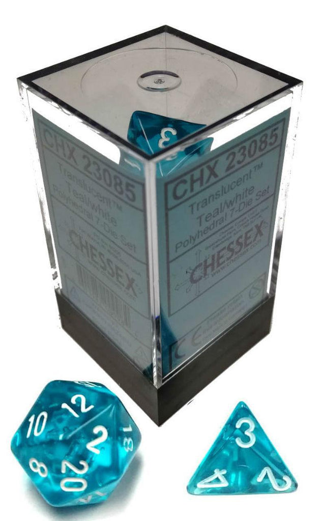 Chessex: Translucent Teal w/ White - 16mm Polyhedral Dice Set (7) - CHX23085