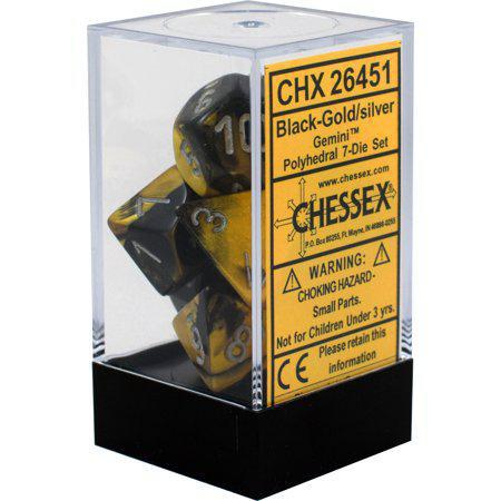 Chessex: Gemini Black w/ Gold -Polyhedral Dice Set (7) - CHX26451