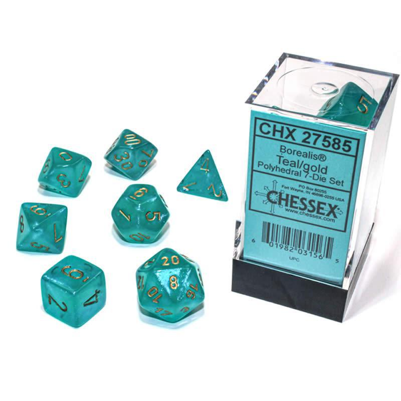 Chessex: Borealis Luminary Teal w/ Gold - Polyhedral Dice Set (7) - CHX27585
