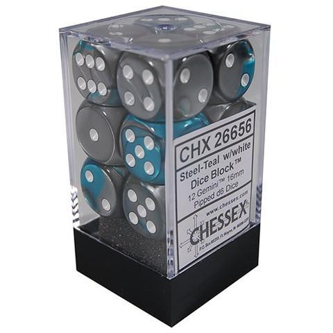 Chessex: Gemini Steel Teal w/ White - 16mm d6 Dice Set (12) - CHX26656