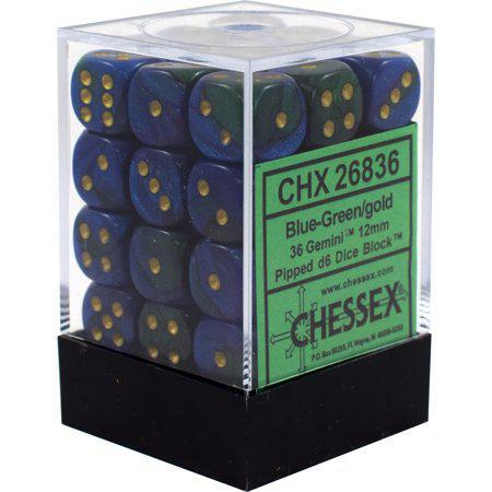 Chessex: Gemini Blue and Green w/ Gold - 12mm d6 Dice Set (36) - CHX26836