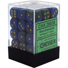 Load image into Gallery viewer, Chessex: Gemini Blue and Green w/ Gold - 12mm d6 Dice Set (36) - CHX26836
