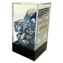 Load image into Gallery viewer, Chessex: Nebula Black w/ White - Polyhedral Dice Set (7) - CHX27408