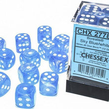 Load image into Gallery viewer, Chessex: Borealis Luminary Sky Blue w/ White - 16mm d6 Dice Set (12) - CHX27786