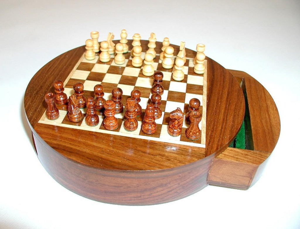 Chess - Round Drawer Magnetic Chess - 6 Inch