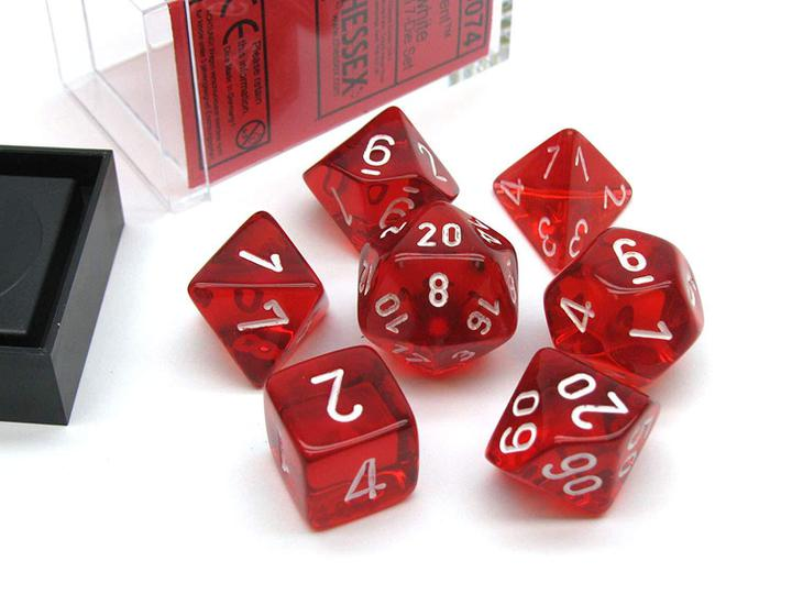 Chessex: Translucent Red/White - Polyhedral Dice Set (7) - CHX23074