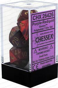 Chessex: Gemini Purple and Red w/ Gold - Polyhedral Dice Set (7) - CHX26426