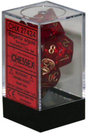 Chessex: Borealis Magenta w/ Gold - Polyhedral Dice Set (7) - CHX27424