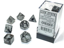 Load image into Gallery viewer, Chessex: Borealis Luminary Light Smoke w/ Silver - Polyhedral Dice Set (7) - CHX27578