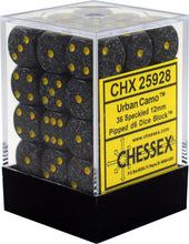 Load image into Gallery viewer, Chessex: Speckled Urban Camo Black w/ Gold - 12mm d6 Dice Set (36) - CHX25928