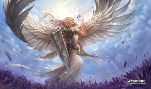 "GamerMats: 'Angel in White' 14""x24""&1/8"" Stitched Gaming Playmat"