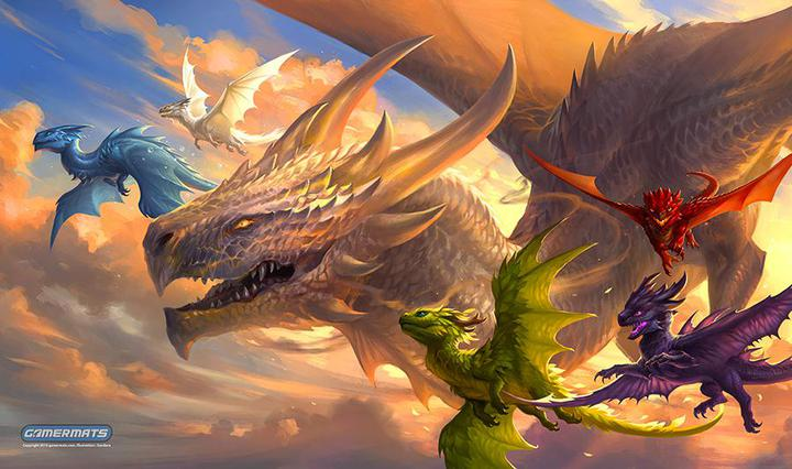 "GamerMats: 'Baby Dragons in Flight' 14""x24""&1/8"" Stitched Gaming Playmat"