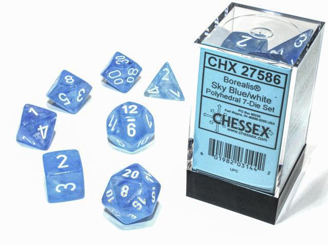 Chessex: Borealis Luminary Sky Blue w/ White - Polyhedral Dice Set (7) - CHX27586