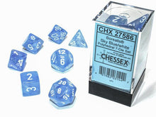 Load image into Gallery viewer, Chessex: Borealis Luminary Sky Blue w/ White - Polyhedral Dice Set (7) - CHX27586
