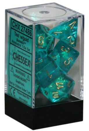 Chessex: Borealis Teal w/ Gold - Polyhedral Dice Set (7) - CHX27486