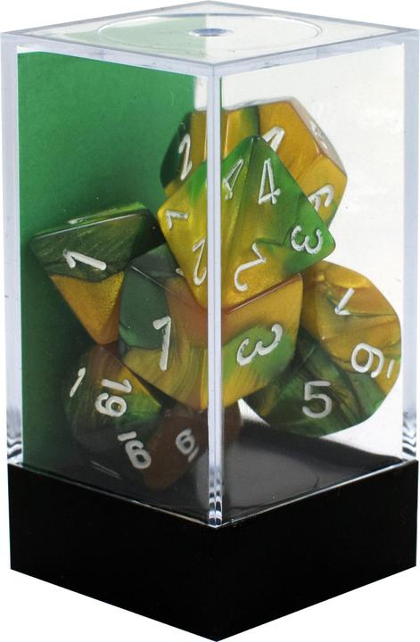 Chessex: Gemini Gold Green w/ White Dice - Polyhedral Dice Set (7) - CHX26425