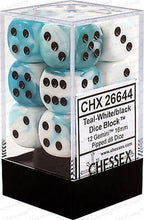 Load image into Gallery viewer, Chessex: Gemini Teal and White w/ Black - 16mm d6 Dice Set (12) - CHX26644