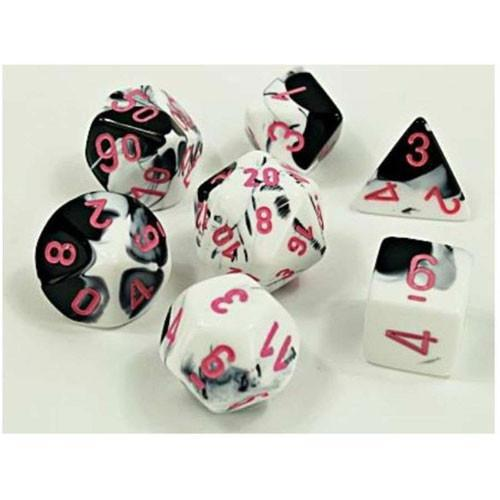 Chessex: Gemini Black and White w/ Pink Lab Polyhedral Dice Set (7) (CHX30043)