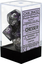 Load image into Gallery viewer, Chessex: Gemini Purple Steel w/ White - Polyhedral Dice Set (7) - CHX26432