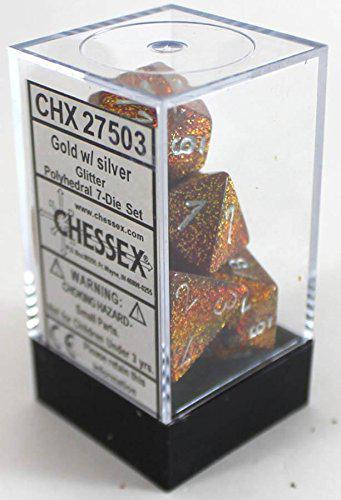 Chessex: Glitter Gold w/ Silver Dice - Polyhedral Dice Set (7) - CHX27503