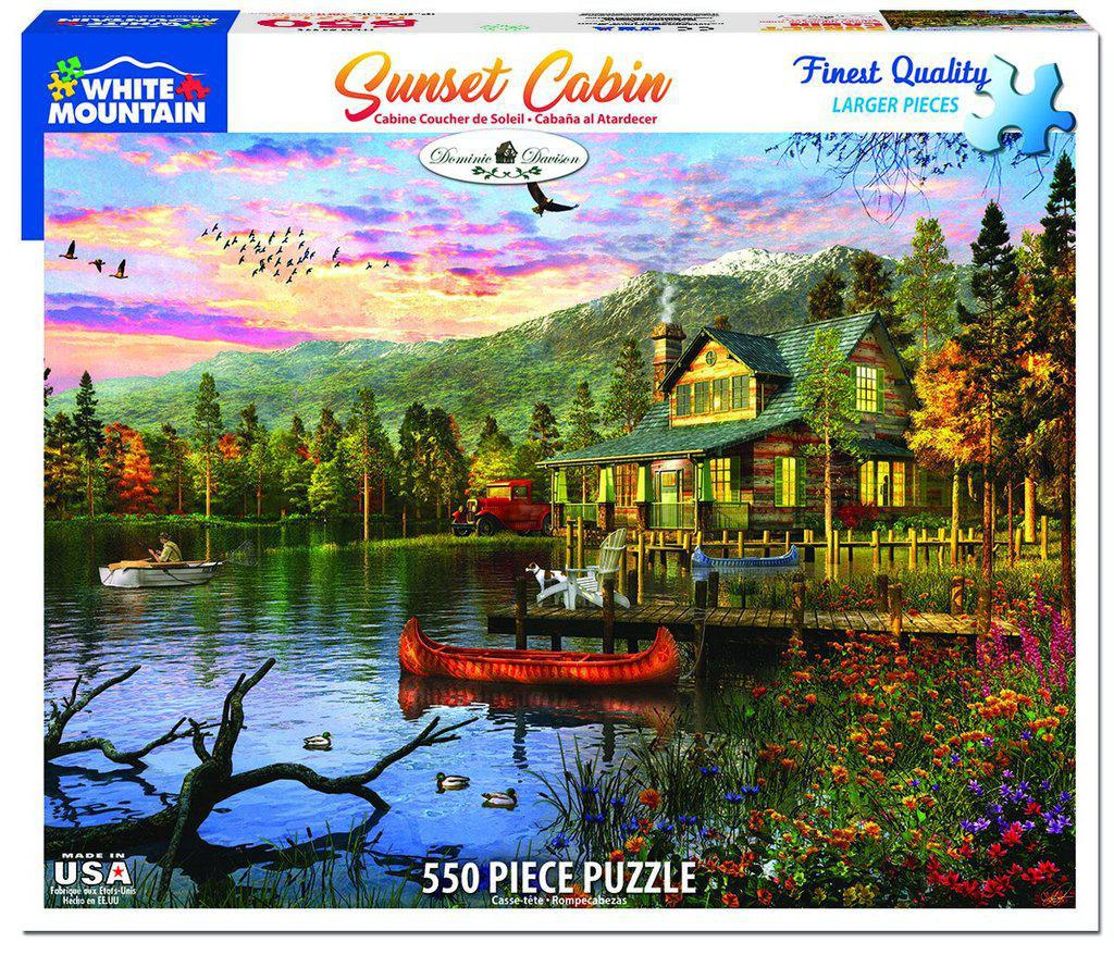 White Mountain Puzzles: Sunset Cabin - 550 Piece Puzzle