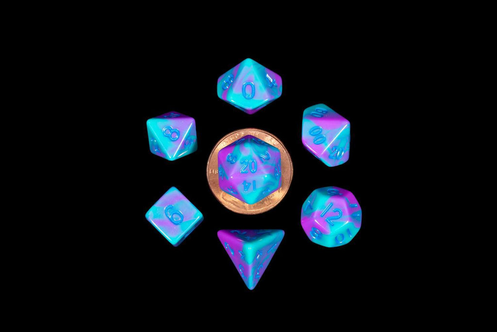 Metallic Dice Games: Marble with Turquoise and Purple 10mm - Mini Polyhedral Dice Set (7)