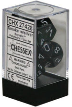 Load image into Gallery viewer, Chessex: Borealis Smoke w/ Silver - Polyhedral Dice Set (7) - CHX27428