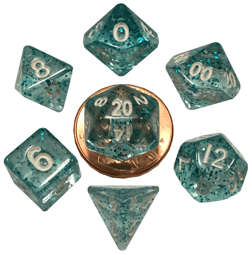 Metallic Dice Games: Ethereal Light Blue 10mm - Mini Polyhedral Dice Set (7)