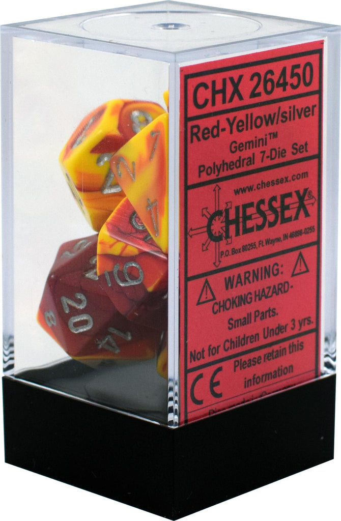 Chessex: Gemini Red and Yellow w/ Silver - Polyhedral Dice Set (7) - CHX26450