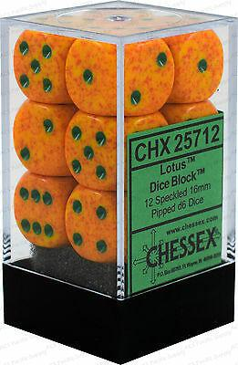 Chessex: Lotus Speckled Orange w/ Green - 16mm d6 Dice Set (12) - CHX25712