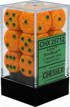 Load image into Gallery viewer, Chessex: Lotus Speckled Orange w/ Green - 16mm d6 Dice Set (12) - CHX25712