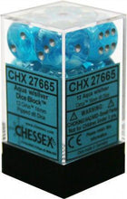 Load image into Gallery viewer, Chessex: Cirrus Aqua w/ Silver - 16mm d6 Dice Set (12) - CHX27665