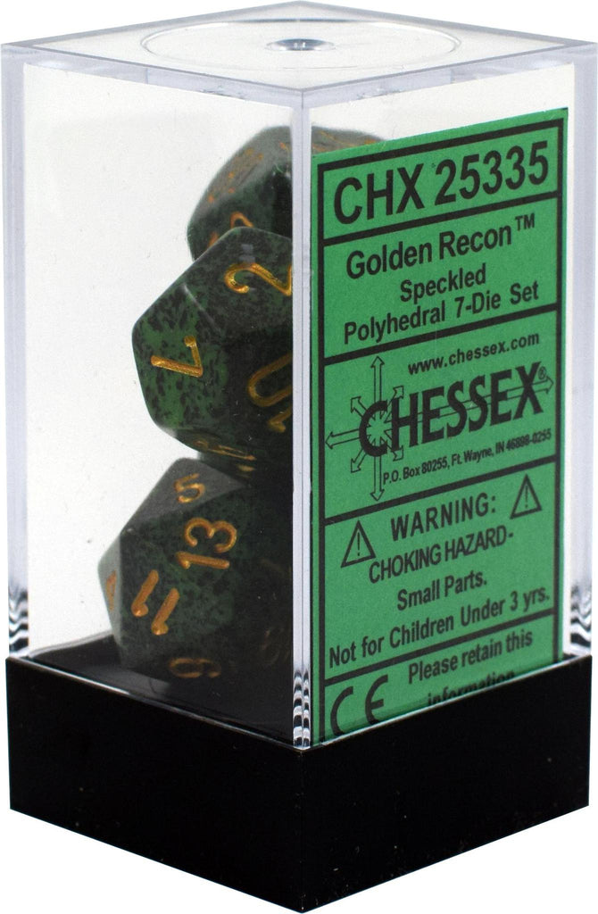 Chessex: Speckled Golden Recon Green w/ Gold - Polyhedral Dice Set (7) - CHX25335