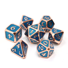 Load image into Gallery viewer, Die Hard: Mythica Copper Aquamarine Metal 16mm - Polyhedral Dice Set (7)