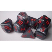 Load image into Gallery viewer, Chessex: Velvet Black w/ Red - Polyhedral Dice Set (7) - CHX27478