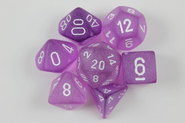 Chessex: Frosted Purple w/ White - Polyhedral Dice Set (7) - CHXLE430