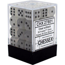 Load image into Gallery viewer, Chessex: Frosted Clear w/ Black -12mm d6 Dice Set (36) - CHX27801