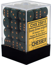 Load image into Gallery viewer, Chessex: Opaque Dusty Green w/ Copper - 12mm d6 Dice Set (36) - CHX25815