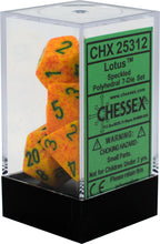 Load image into Gallery viewer, Chessex: Speckled Lotus Yellow w/ Green - Polyhedral Dice Set - CHX25312