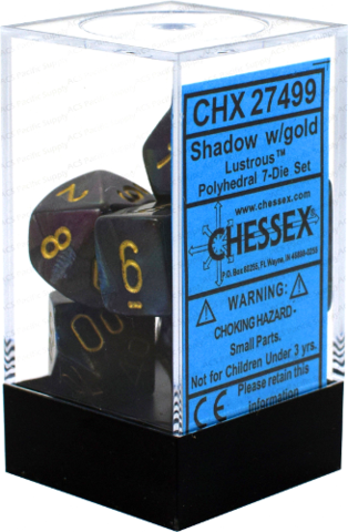 Chessex: Lustrous Shadow w/ Gold -  Polyhedral Dice Set (7) - CHX27499