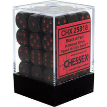 Load image into Gallery viewer, Chessex: Opaque Black w/ Red - 12mm d6 Dice Set (36) - CHX25818