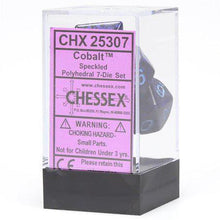 Load image into Gallery viewer, Chessex: Speckled Cobalt Purple w/ Blue - Polyhedral Dice Set (7) - CHX25307