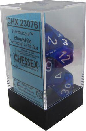 Chessex: Translucent Blue w/ White - Polyhedral Dice Set (7) - CHX23076